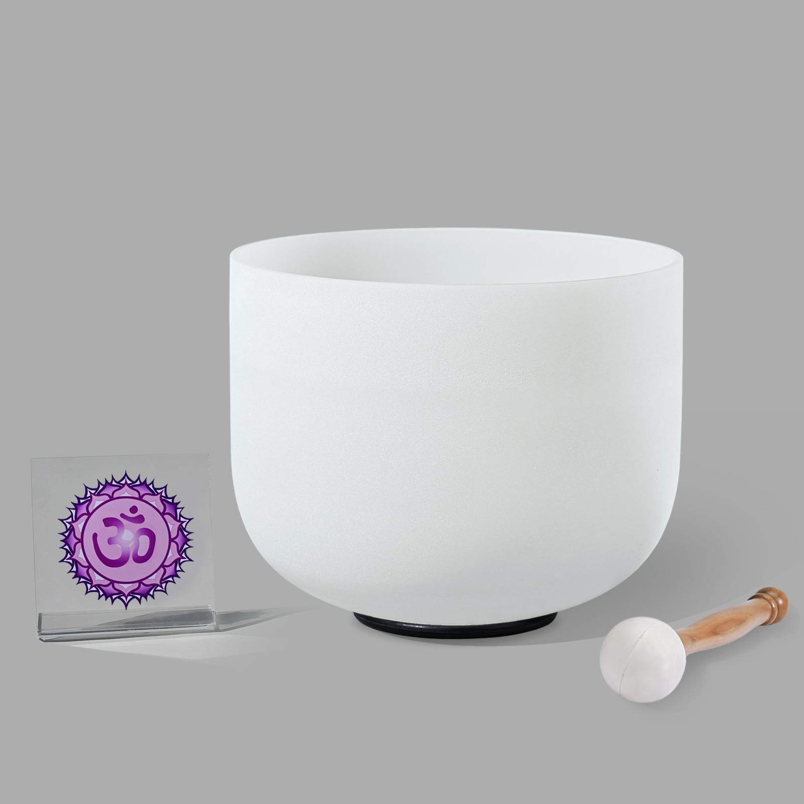 8 inch B note Frosted Crown Chakra Tuned Quartz Crystal Singing Bowl Come With Free Mallet & O-ring by Unknown