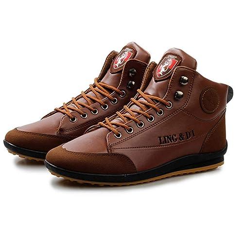 Zapatos Casuales con Cordones Hombre Botines Estilo fósforo Mantener la Goma cálida Antideslizante Suela Moda Zapatos Deportivos cómodos para Exteriores ...
