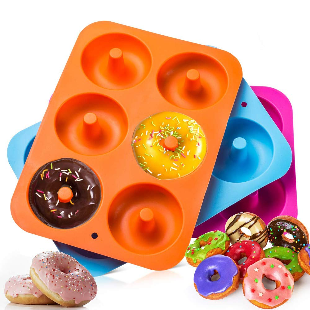 Fullfun 3PC Cavity Donut Silicone Mould Baking Pan Non-Stick Safe Baking Tray Maker for Cake Biscuit DIY Tools Accessories