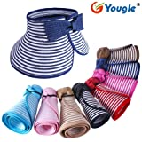 Yougle Fashion Girl Lady Beach Sun Visor Foldable Roll up Wide Brim Straw Hat Cap Free Shipping (Golden+white C15)