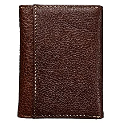 Brown Genuine Leather Tri-Fold Wallet w/Cross