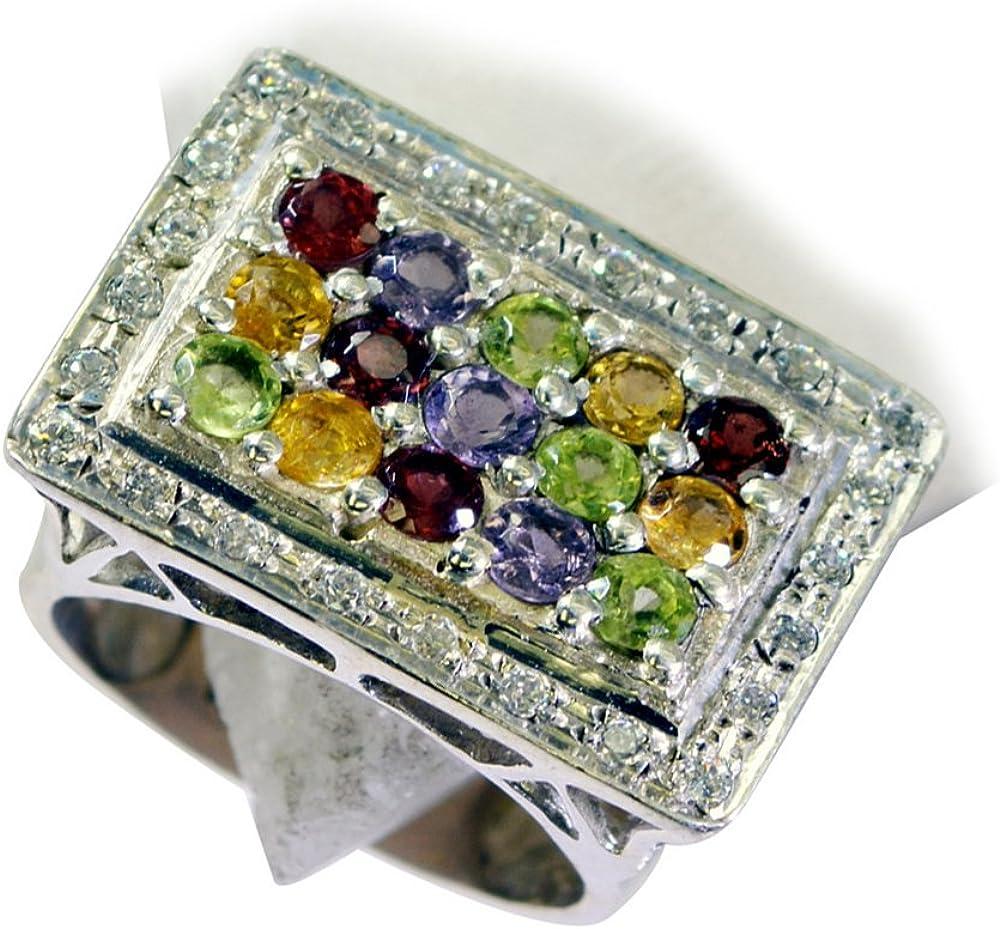 55Carat Amethyst Peridot Citine Garnet CZ Silver Ring For Men Chakra Hearling Size 5,6,7,8,9,10,11,12