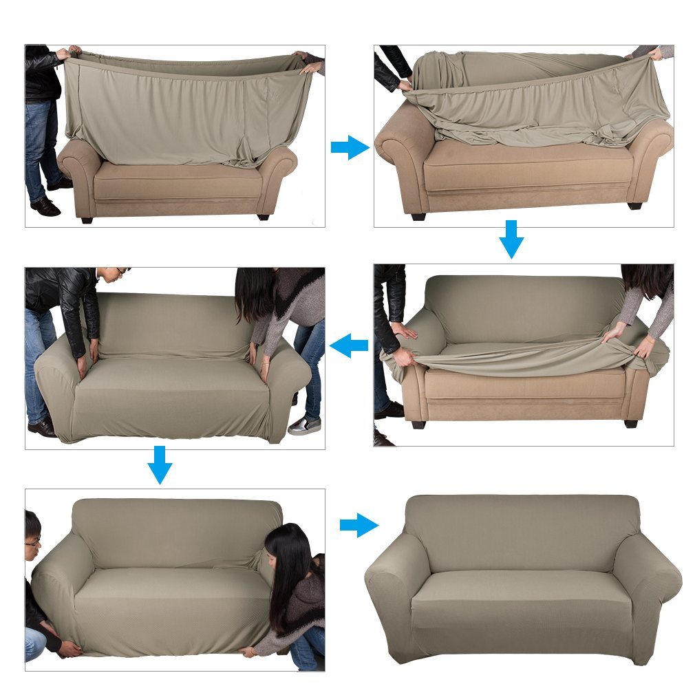 Auralum Easy Stretch Fabric Couch Covers Polyester Spandex Slipcovers  Washable Antifouling Sofa Covers: Amazon.co.uk: Kitchen & Home