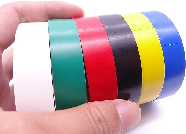 color verde paquete de 10 rollos grandes GTDE 10 rollos de cinta aislante el/éctrica de PVC amarillo cinta de alta calidad 5 m x 19 mm