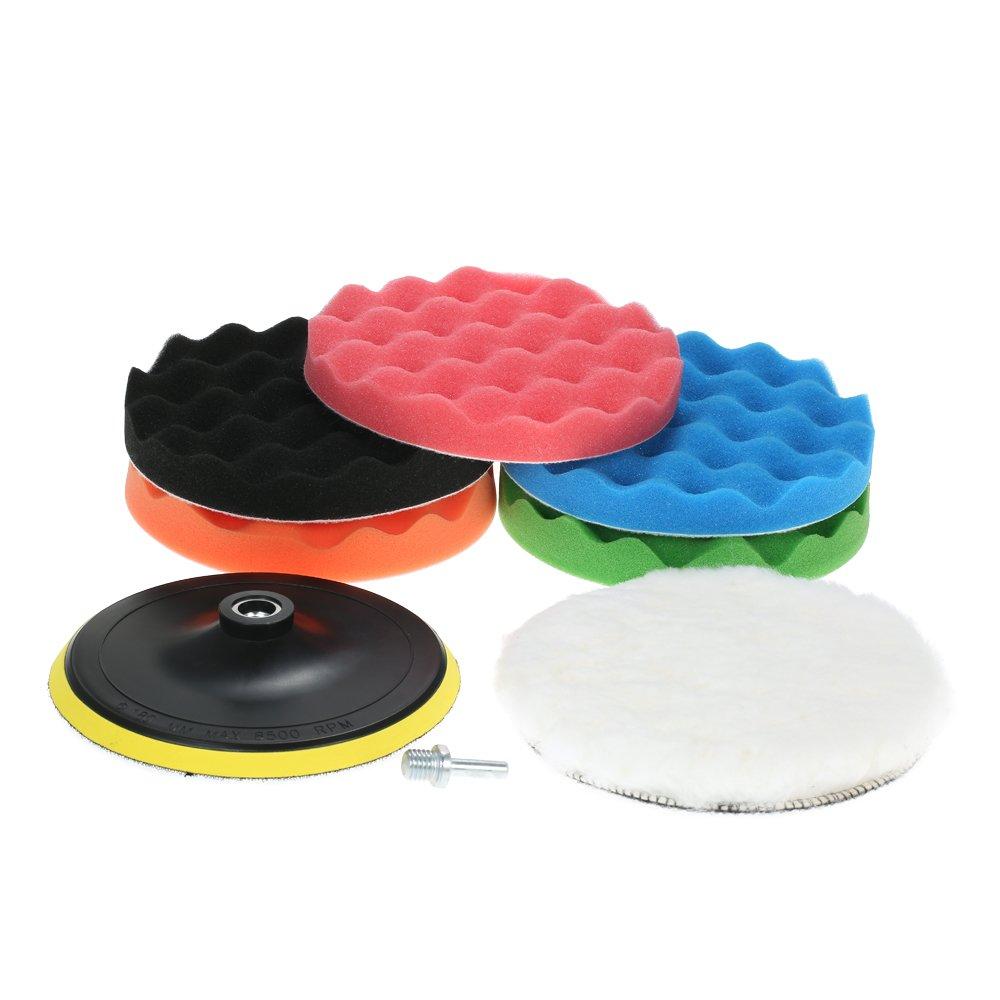 KKmoon 7PCS 7 inch/180mm Car Polishing Pads Waxing Buffing Pad Sponge Kit Set for Car Polisher Buffer Waxer Sander Including 5 Polishing Pads + 1 Woolen Buffer + 1 Adhesive Backer Pad with Shank