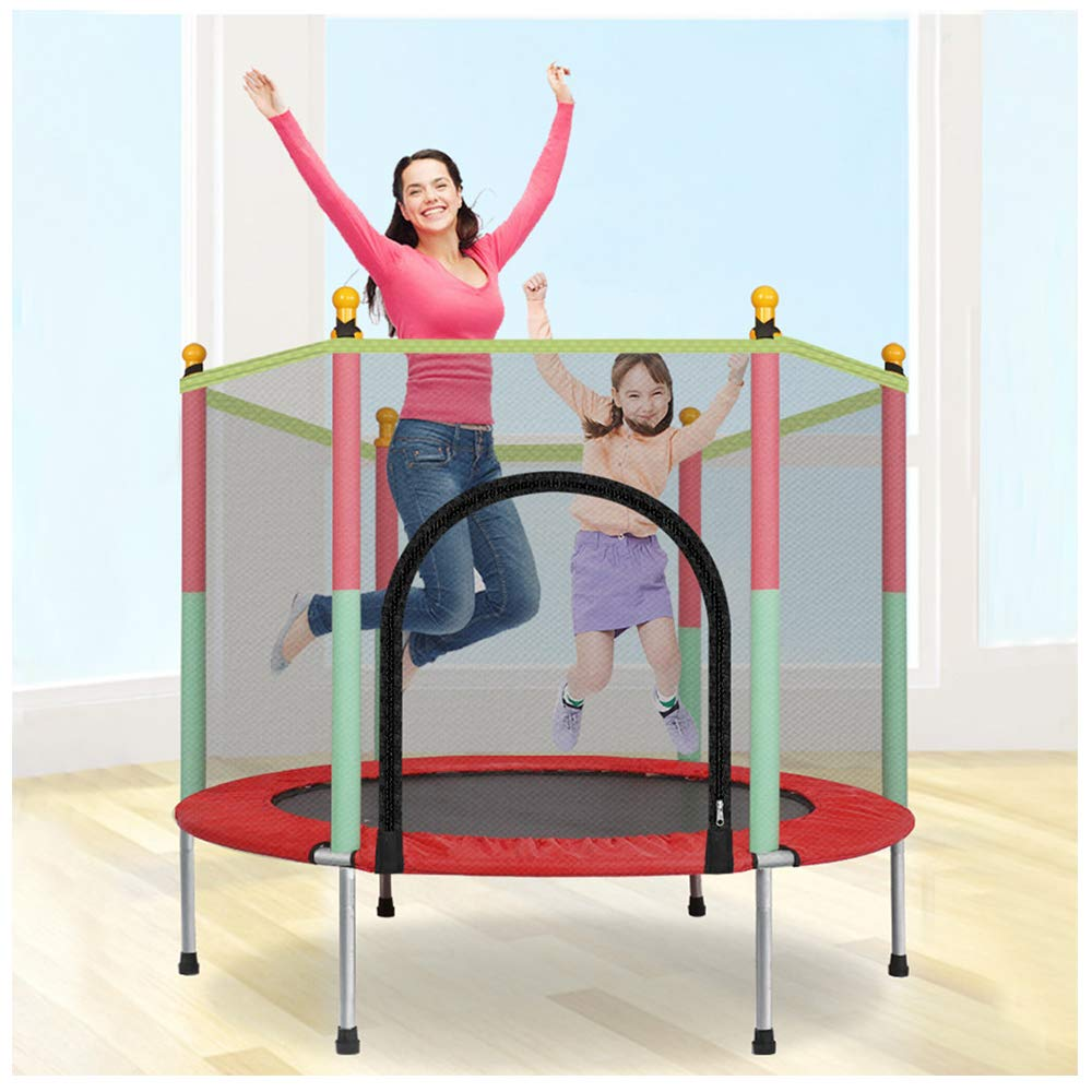 Kids Mini Trampoline | Children Trampolines with Safety Enclosure Net Jumping Spring Mat Pull T-Hook | Jump Indoor Outdoor Trampoline for Family School Entertainmen (1PC Toddler Round Trampoline) by Leadmall