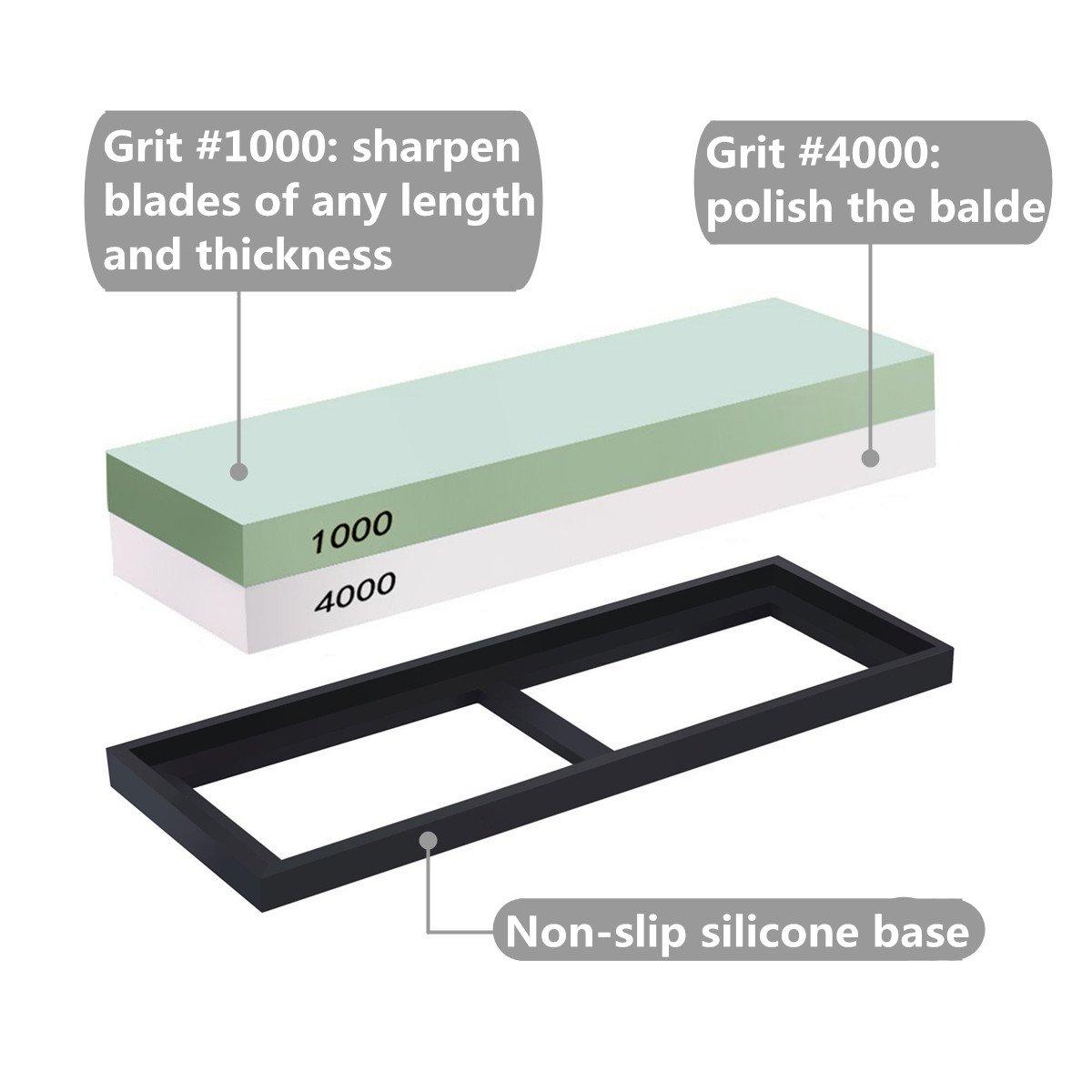 Piedra de Afilar, Piedra afiladora con Doble Cara al agua Grano 1000/4000, con Soporte de Silicona Antideslizante