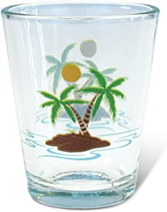 Puzzled Clear Palm Trees Shot Glass, 1.70 Oz. Unbreakable Beverage Tequila Gin Cocktail Whisky Vodka Novelty Glassware Handcrafted Drinkware Tropical Island Holiday Themed Home & Bar Tools Accessory
