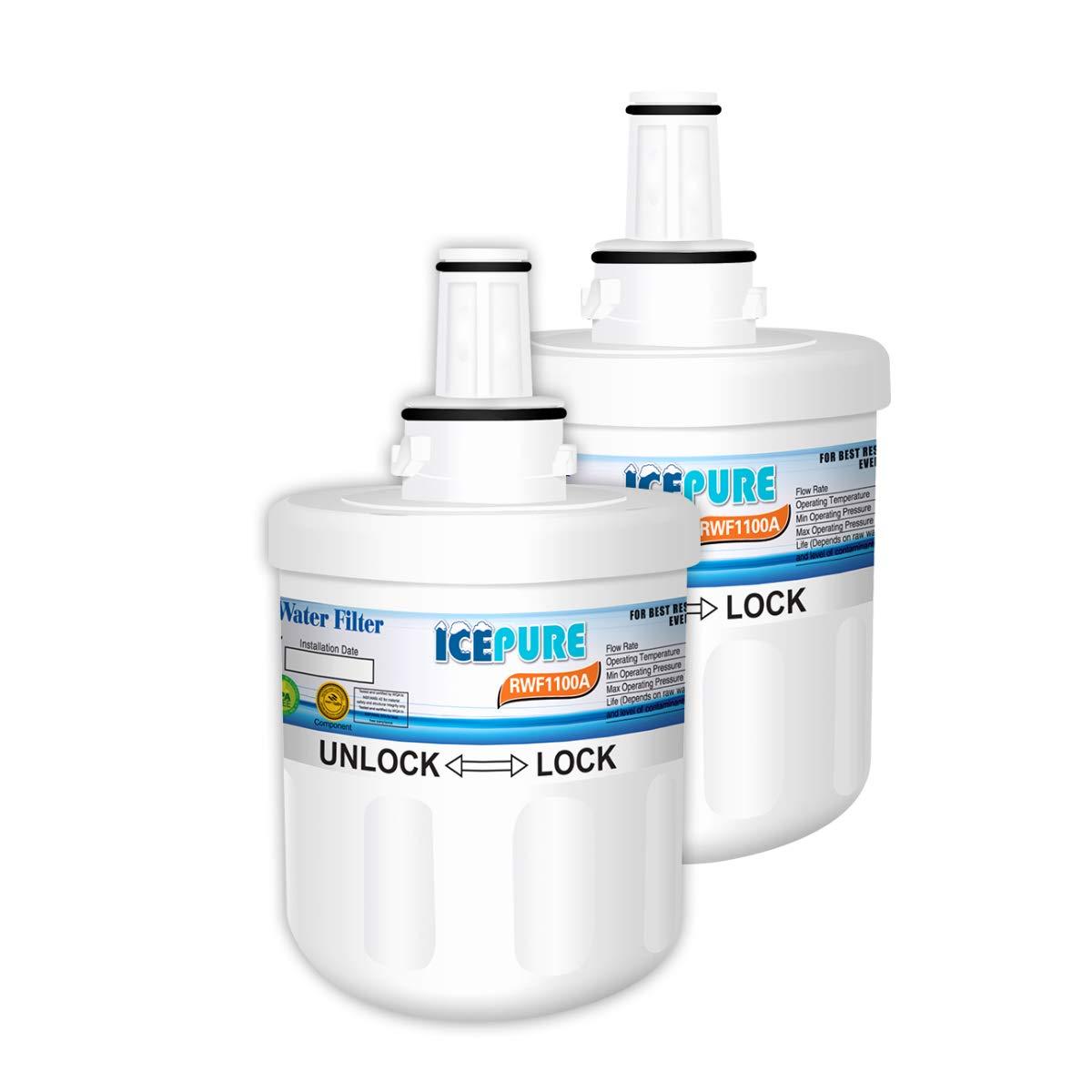 ICEPURE DA29-00003G Refrigerator Water Filter Replacement For Samsung DA29-00003G, DA29-00003B, HAFCU1, DA29-00003A Advanced Series, RWF1100A, 2PACK