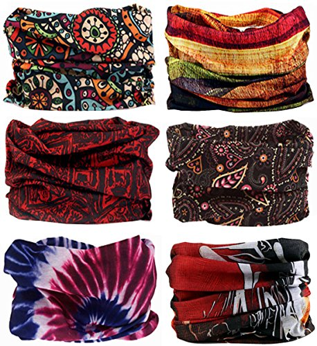 SmilerSmile 6pcs Assorted Seamless Outdoor Sport Bandanna Headwrap Scarf Wrap 12 in 1 High Elastic Magic Headband /& Collars Muffler Scarf Face Mask with UV Resistance