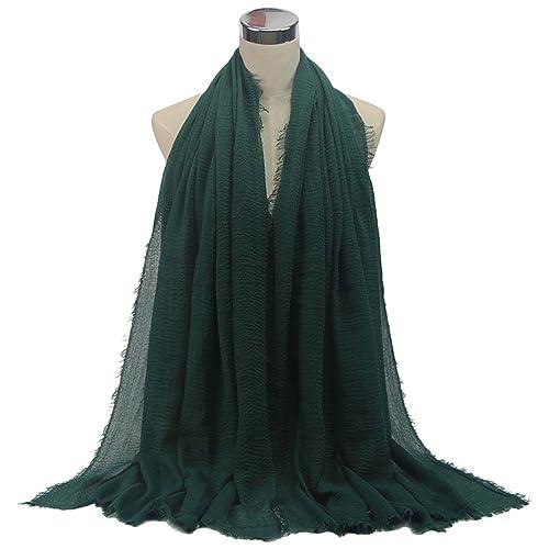 OULII Bufandas Chal de Algodón y Lino de Color Sólido Párrafo Largo Grate para Mujeres (Verde oscuro...