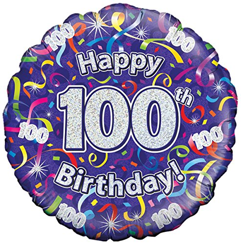 Oaktree 18 Inch Foil Balloon - 100th Birthday Streamers Holographic -