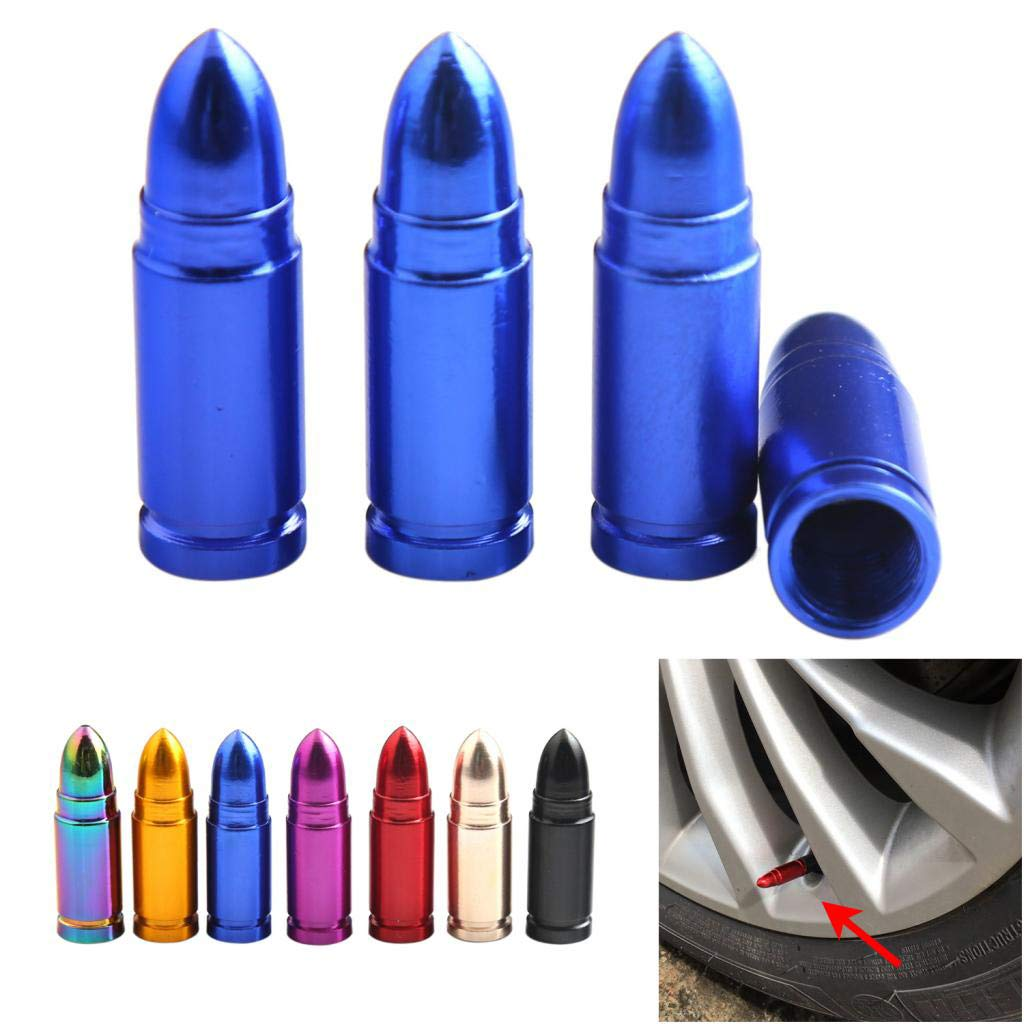 Champagne Baosity 4 Pieces Car Motorcycles Bicycle Bullet Aluminum Tire Valve Stem Caps