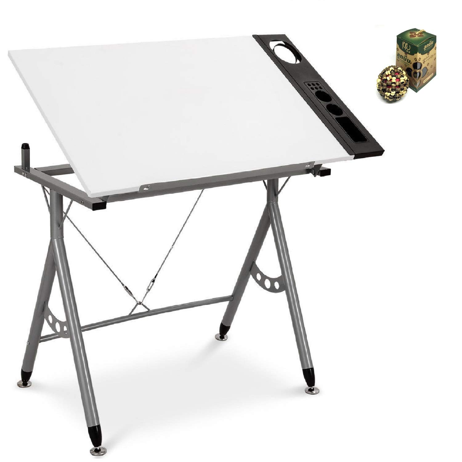 Adjustable Art & Craft Station Drawing Desk w/Side Tray by SpiritOne + Gift Coconut Shell Massage Ball by COSTWAY