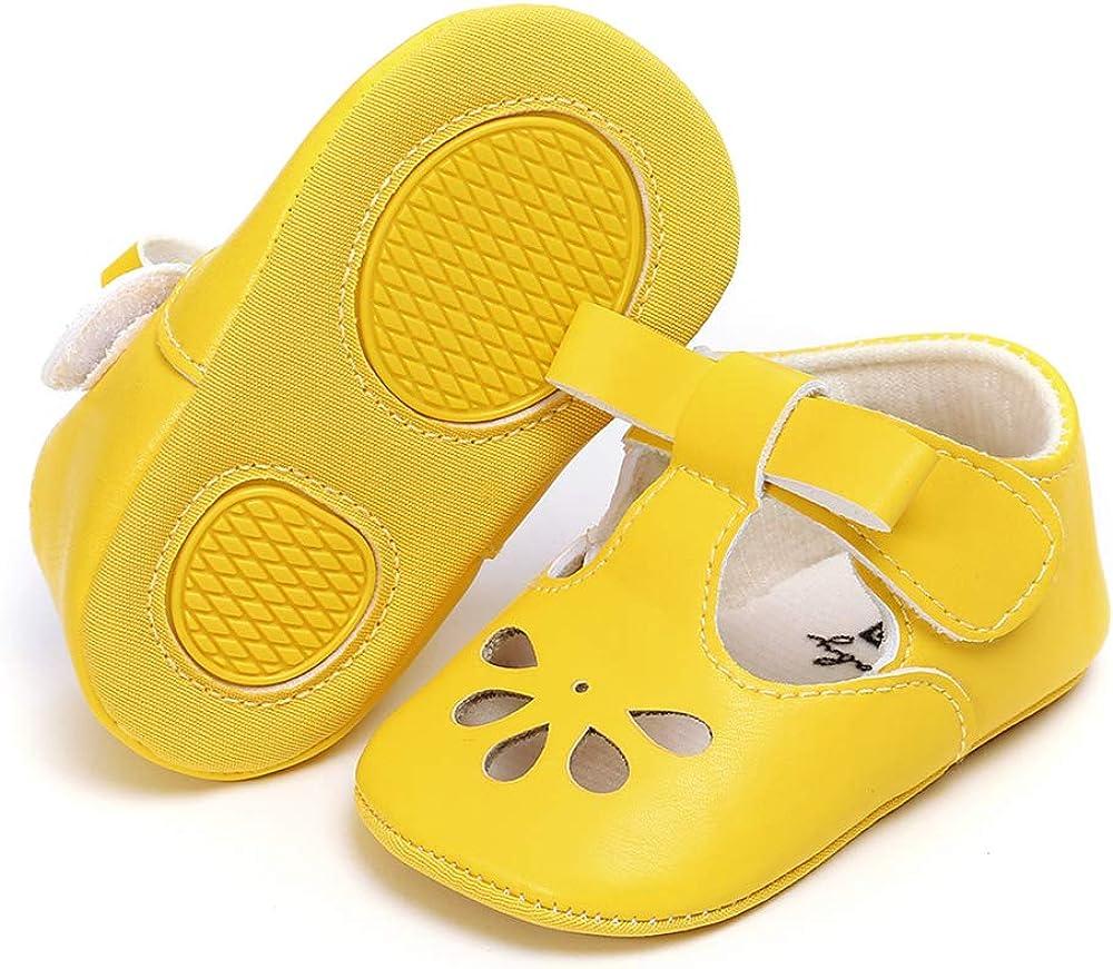 RVROVIC Baby Girls Mary Jane Flats Princess Christening Baptism Infant Crib Shoes Toddler Prewalkers