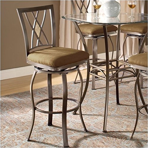 Powder Coat Back - Hillsdale Furniture Brookside Diamond Back Swivel Counter Stool, Brown Powder Coat Finish