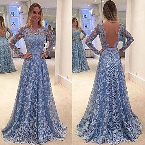 largo noche elegante azul vestido de fiesta azul M azul para fiesta hueco vintage de encaje Vestido espalda de sin profundo Swing dSqanwqf