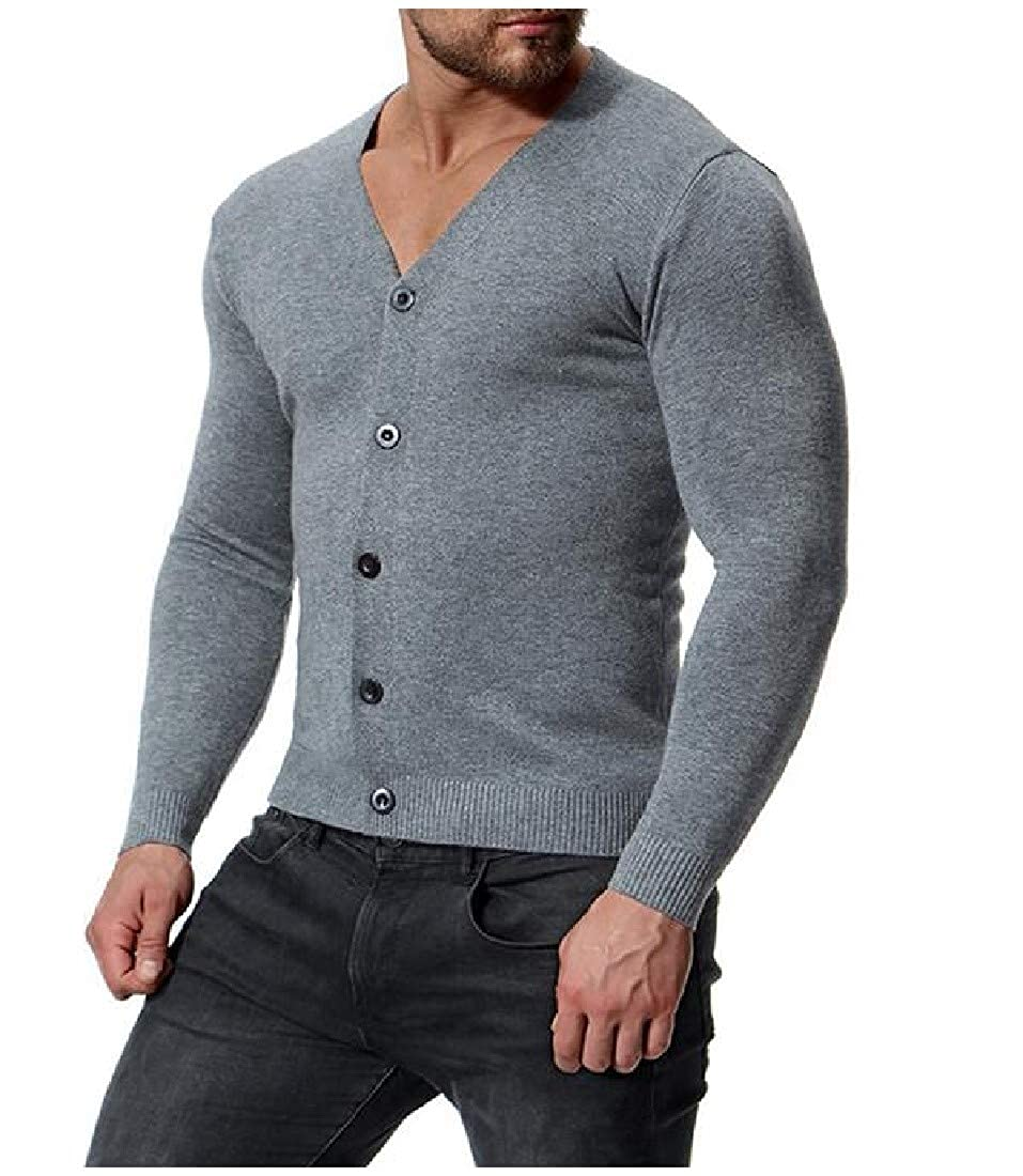 Nicelly Men Solid Color Button Down Open Front Knitting Casual Cardigan