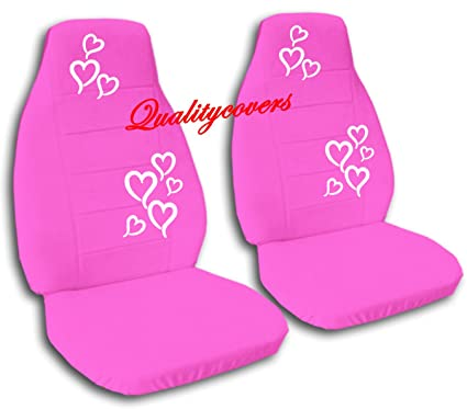 Astounding Amazon Com 2 Hot Pink Seat Covers With White Hearts For A Machost Co Dining Chair Design Ideas Machostcouk