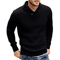 Runcati Mens Sweaters Shawl Collar Slim Fit Pullover Fall Winter Casual Knit Ribbed Coat