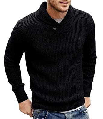 ab3617973c975a Runcati Mens Sweaters Casual Shawl Collar Slim Fit Solid Pullover Coat  (Small, Black)