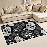 Unique Day of the Dead Halloween Decorations Floral Sugar Skulls White Area Rug Pad Non-Slip Kitchen Floor Mat for Living Room Bedroom 3'3″ x 5′ Doormats Home Decor Review
