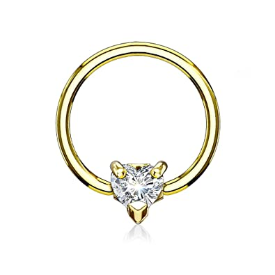 Amazon.com: 16GA CZ Crystal Heart Septum / Cartilage Captive Bead ...