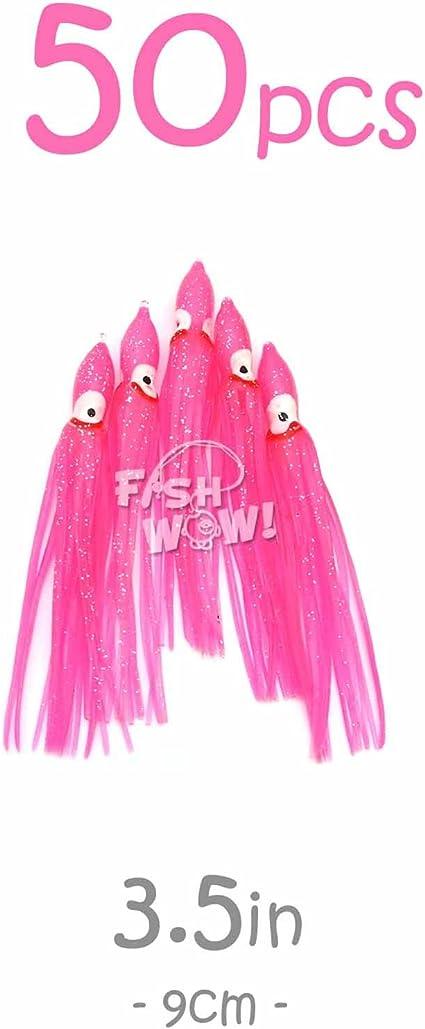 "30pcs 5/"" Squid Skirts Wave Hoochies Fishing soft Lures Trolling Octopus Glow Set"