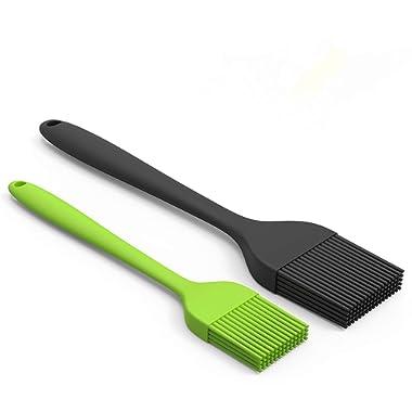 Montreal Baking Silicone Pastry 2 Pack — Heat Resistant Basting Brush Set Elegantly Designed + Dishwasher Safe — Large Black + Small Green Sizes