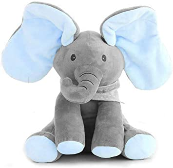 Peek-a-boo Elephant Baby Plush Toy Singing Stuffed Pink Animated Kids Soft Gift