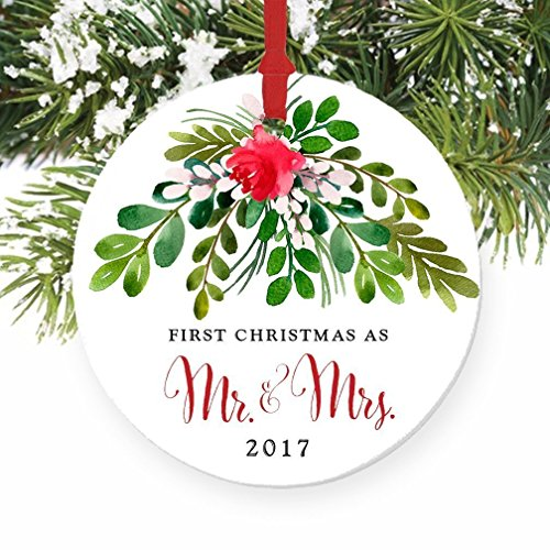 First Christmas Wedding Ornament (Mr & Mrs Ornament 2017, First Christmas as Mr & Mrs, 1st Married Christmas Porcelain Ornament, 3