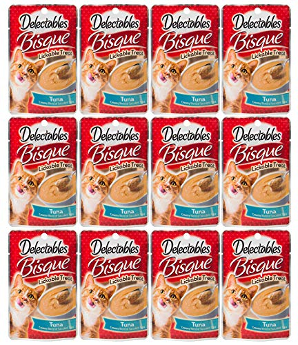 Hartz Delectables Bisque Lickable Wet Cat Treats - Tuna - 12 Pack - - Stand Gravy No