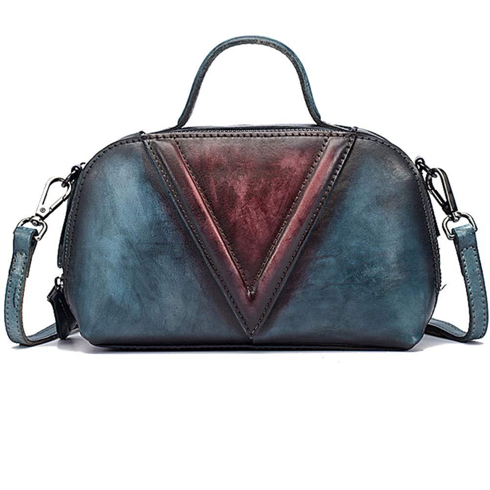 bluee Women Real Skin Small Top Handle Messenger Handbag Brush color Leisure Purse Genuine Leather Shoulder Cross Body Tote Bag Red