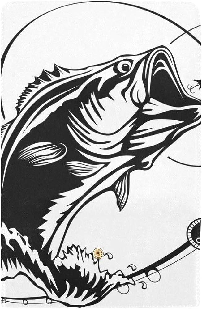 Fishing logo Bass fish with rod club emblem Handmade Genuine Men Leather Wallet