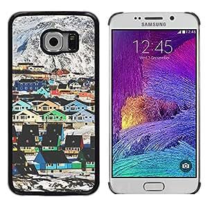 Caucho caso de Shell duro de la cubierta de accesorios de protección BY RAYDREAMMM - Samsung Galaxy S6 EDGE SM-G925 - Mountain Houses Colorful Architecture