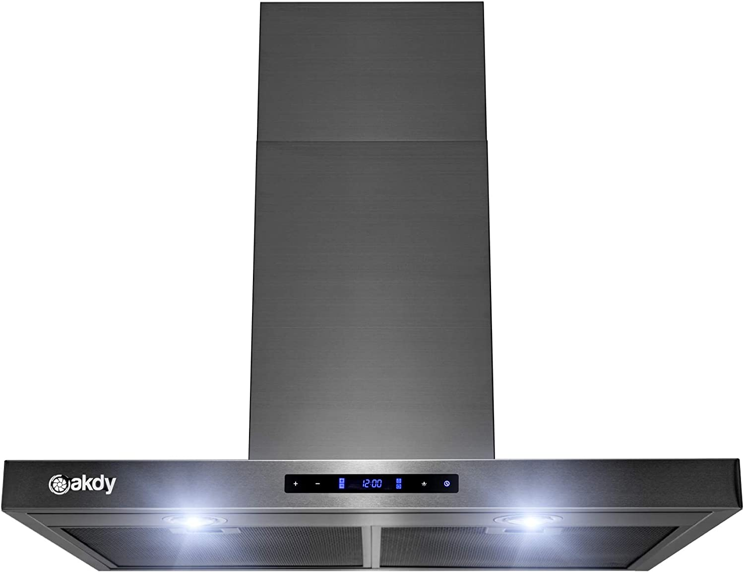 AKDY 30 in. Brushed Black Stainless Steel Wall Mount Kitchen Range Hood Cooking Fan with Touch Panel