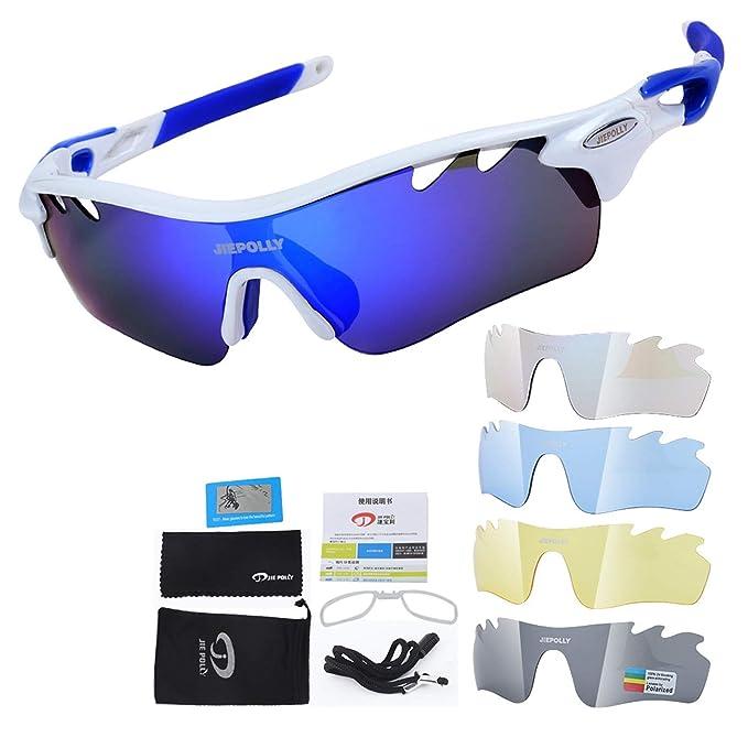 AnazoZ Gafas Protectoras Deporte Gafas de Sol Gafas de Bicicleta Gafas Polarizadas Gafas de Montar Gafas Protectoras Viento Gafas de Pesca Gafas Blanco ...