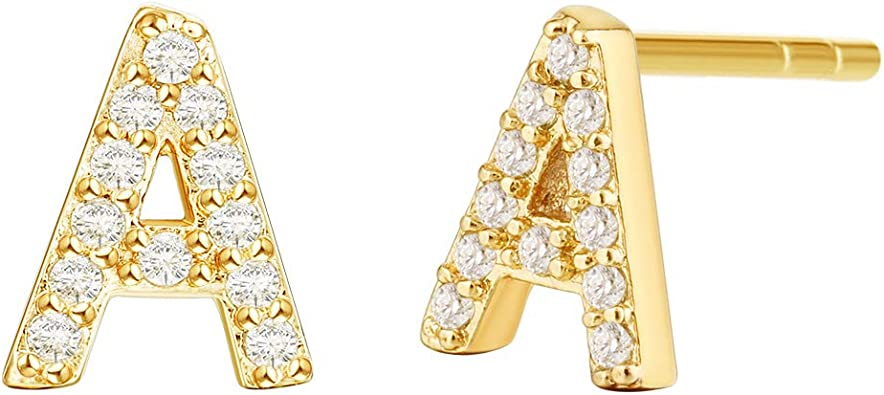 Alphabetic Letter Initial Crystal Mini Stud Earrings A to Z