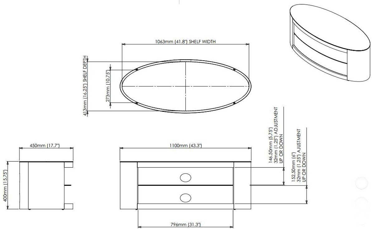 Buckingham TV Stand Oak Veneer Wooden TV Table 40 42 46 47 50 52 55 FS1100BUCO