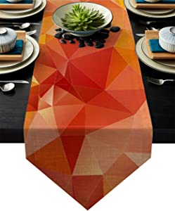 "Dining Table Runner Orange Geometric Shapes with Triangular Creative Artistic Kitchen Table Runner for Dinner Parties, Events, Decor 13"" x 90"""