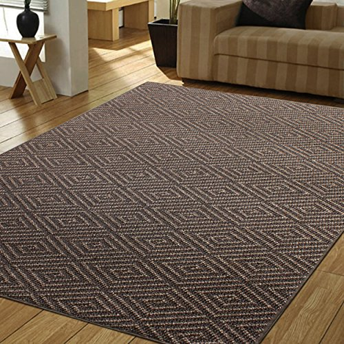 A1 Home Collections A1NFR012-B Natural Fiber Area Non-Skid Latex Backing   Sisal Entryway, Dining or Living Room   Dark Diamond Pattern Rug   Various Sizes   Brown-5'x8', Ch