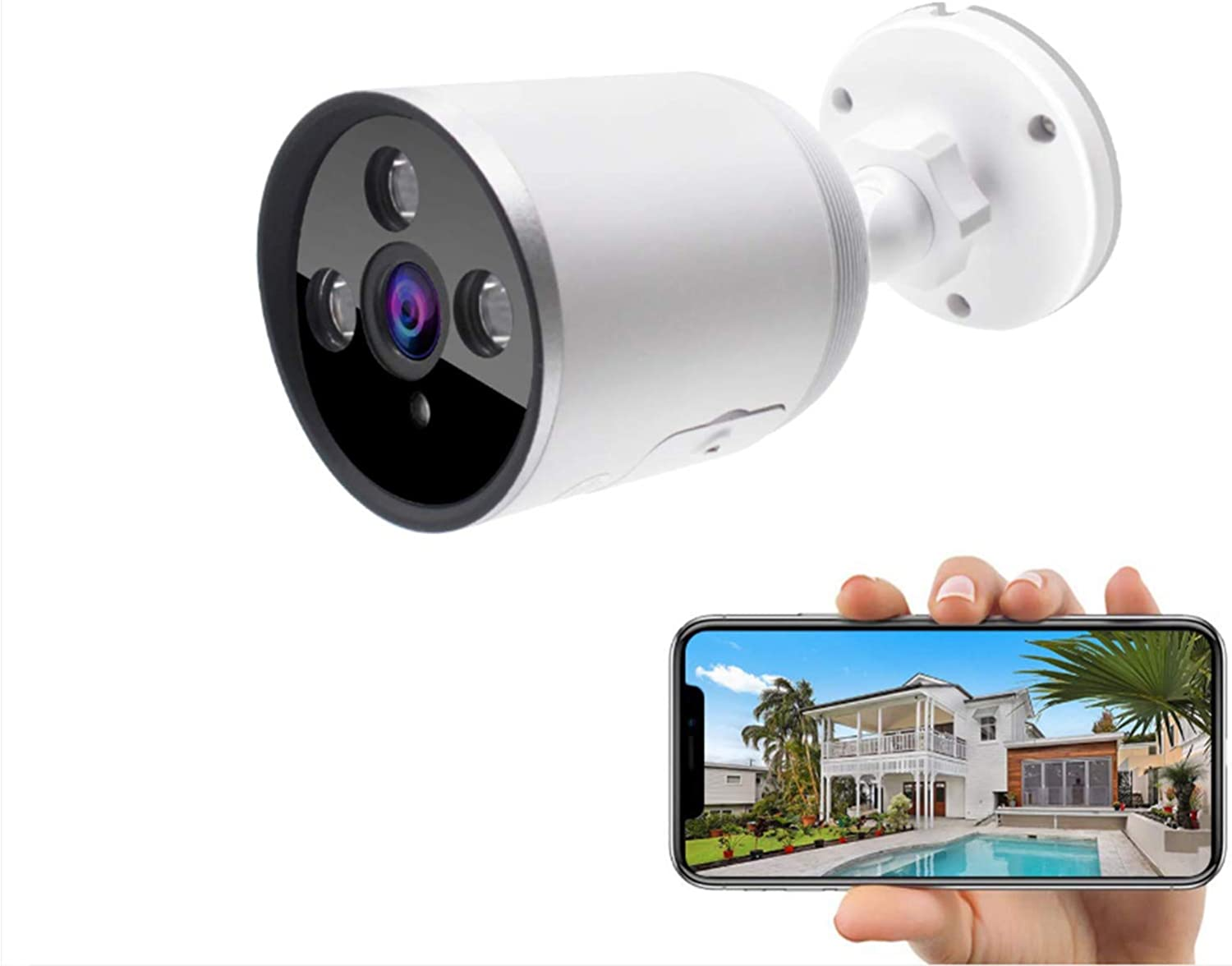 Outdoor Security Camera 1080P Weatherproof WiFi CCTV Camera with Night Vision