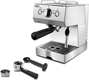 Gevi Espresso Machine 15 Bar Coffee Maker with Foaming Milk Frother Wand for Espresso, Cappuccino, Latte and Mocha, Steam Espresso Maker For Home Barista, Double Temperature Control System,1.5L Removable Water Tank,Stainless Steel,Silver,1050W
