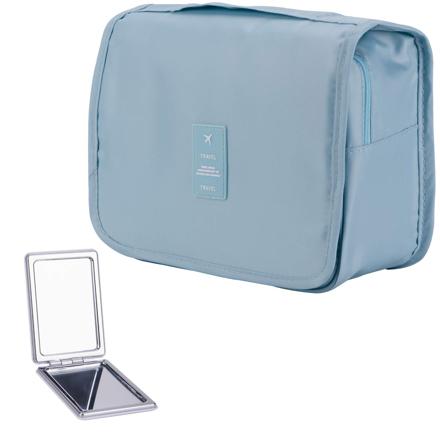 LAKIBOLE Hanging Toiletry Bag with Travel Mirror, Multifunction Cosmetic Bag Portable Makeup Pouch Waterproof Travel Hanging Organizer Bag for Women Girls (Korean Blue)