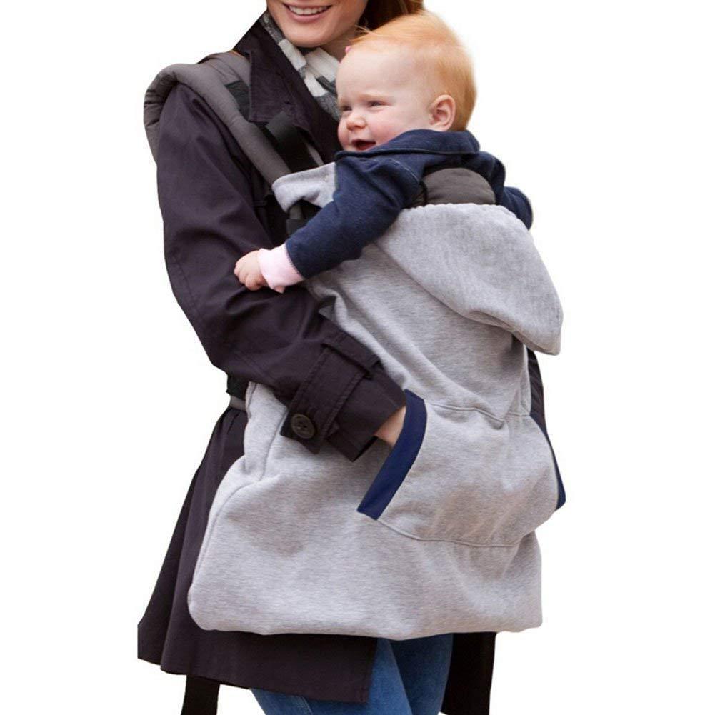 Tukistore Baby windundurchlä ssige Hoodie Umhang Winter Warm Baby Carrier Winddicht Tragecover Babydecke Baby Rucksack Carrier Umhang Decke mit warm Pocket, Einheitsgrö ß e, Grau XD0001326X