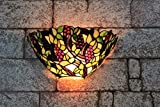 Gweat 12-inch Vintage Pastoral Stained Glass Tiffany Grape Wall Lamp Hallway Wall Sconce Lamp Fixture
