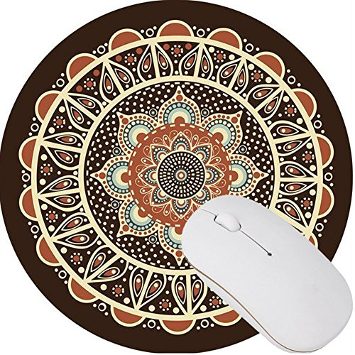 Neat size 7.9in X7.9in Adorable Rubber Small Round Mouse Pad Desktop Mouse pad Mandala flowers 18 (Adorable Mouse)