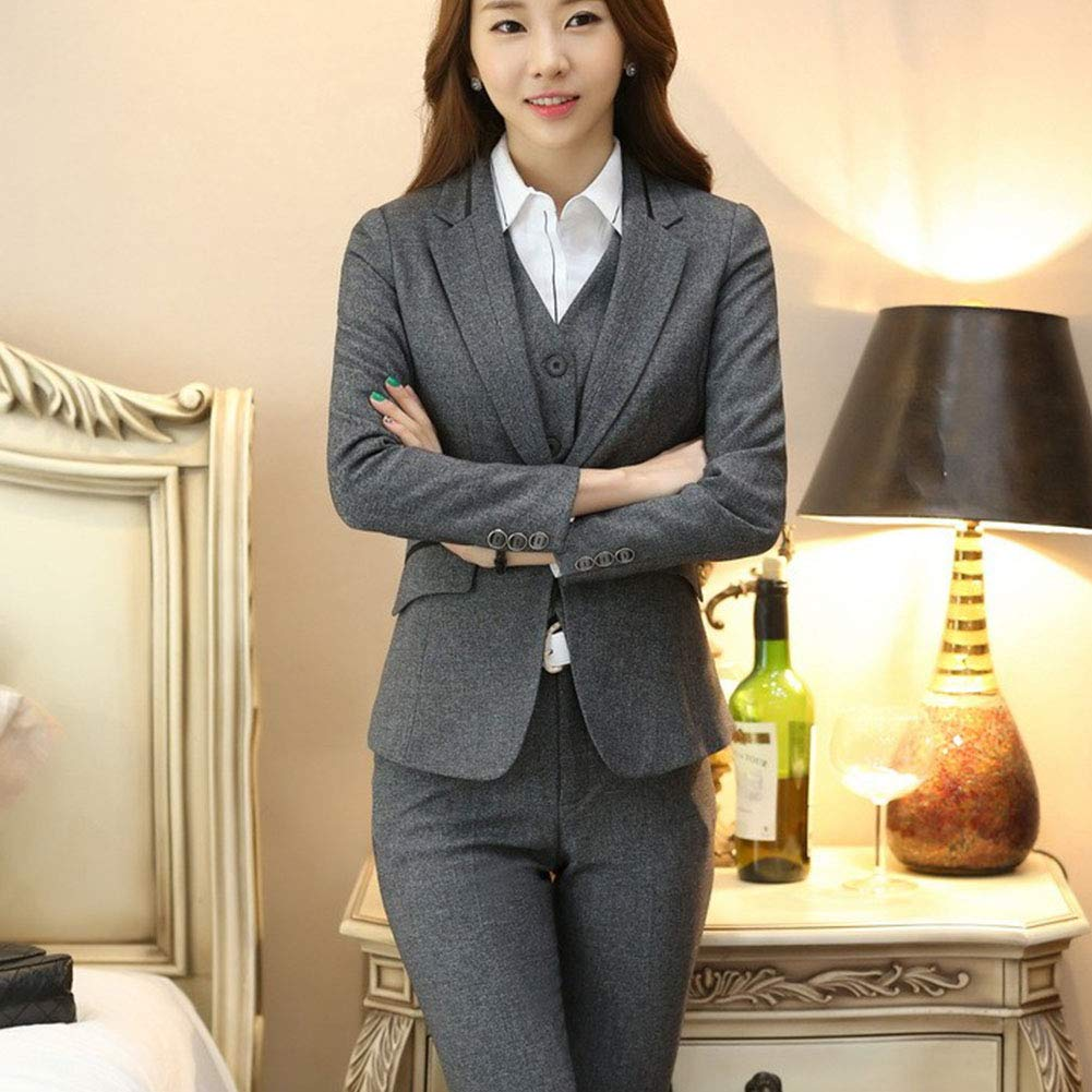 Women's Three Pieces Office Lady Stripe Blazer Business Suit Set Women Suits for Work Skirt/Pant,Vest and Jacket by LISUEYNE (Image #5)