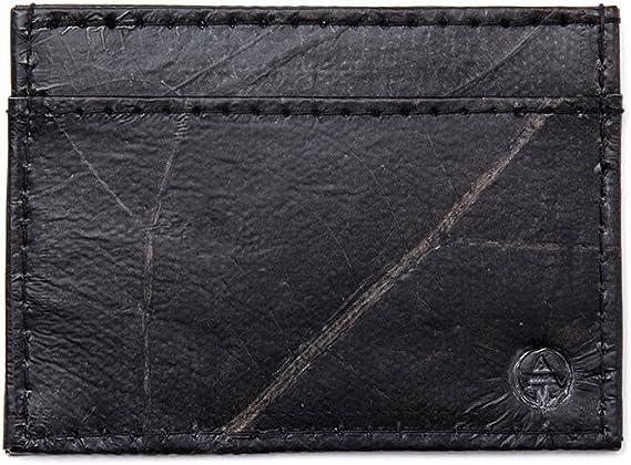 Unique Mens Coin Wallet Eco-Friendly Black Leaf Leather Vegan /& Slim
