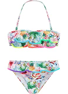 d74be3da4bd Wantdo Girls Beach Halter Bikini Set Bathing Suit Floral Ruffle 2-Piece  Swimsuit
